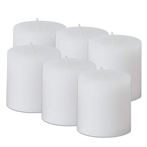 Simplicité Pillar Candles Unscented Set of 6 by in White Colour 3 inch by 3 inch | Hand-Poured Candles with Finest Wax Blend and German Cotton Wicks | Burn Time - Candle Inch Blend 3x4 Pillar