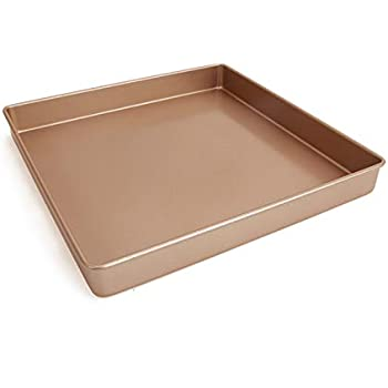 Square cake pan 11 inch baking sheet cake pan carbon steel non stick gold bakeware