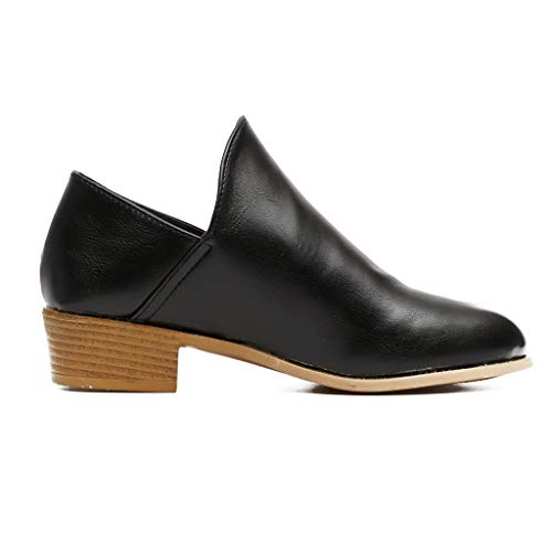 ANJUNIE Women Square Heels Slip-On Oxfords Solid Boots Round Toe Work Shoes Bootie