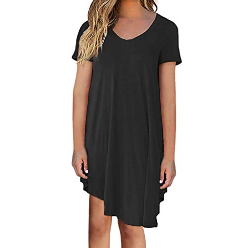 (iLUGU Women Tunic Dress Loose Long/Short Sleeve Plain Solid Oversize Baggy Party Shirt Mini Short Dresses with Pockets)
