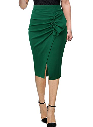 (VFSHOW Womens Green Ruched Ruffle Split Slim Work Business Office Party Bodycon Pencil Skirt 1296 GRN XS)