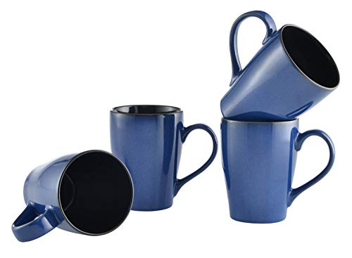 (Culver 16-Ounce Sherwood Ceramic Mug, Blue, Set of 4)