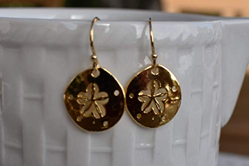 Sand Dollar Earrings 22K Gold Vermeil - Jewelry Gift For Women ()