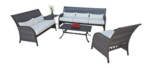Panama Jack PJO-1501-GRY-5PS 5 Piece Newport Beach Living Set, Grey (Deep Newport Seating Furniture Outdoor)