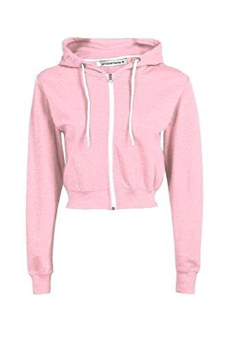 New Womens Hooded Zip Up Crop Hoodie Plain Fleece Jacket Sweatshirt Jumper Top Baby Pink