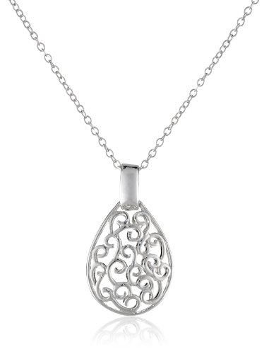 Sterling Silver Bali Filigree Teardrop Necklace, 18