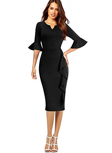 VFSHOW Womens Black Bell Sleeves Ruffles Cocktail Work Business Party Sheath Dress 2651 BLK M