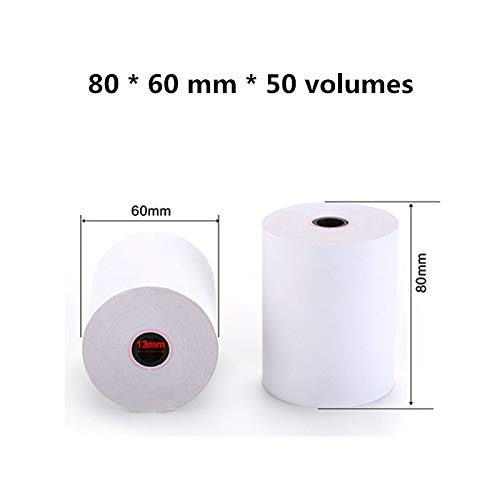 Yoton Poss Cashier's Receipt Printing Paper 80x60mm Thermal Paper 80mm Thermal Printer Small roll Printing Paper 50 Rolls - (Color: White)
