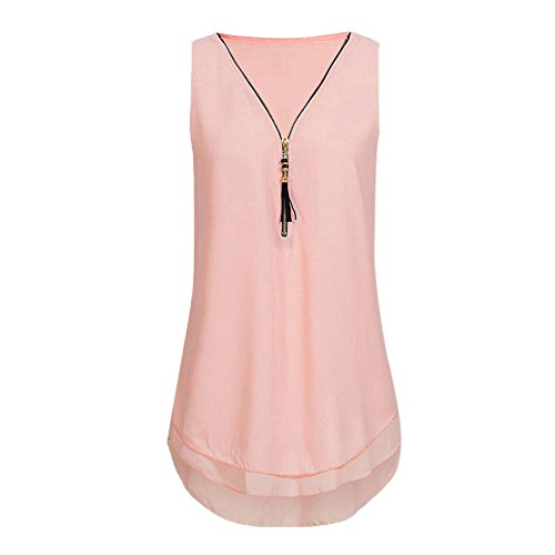iDWZA Women Loose Sleeveless Tank Top Cross Back Hem Layed Zipper V-Neck T Shirts Blouse (Pink 2, XL)