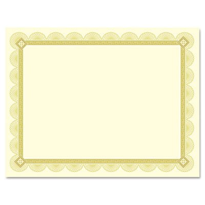 Premium Certificates, Ivory, Spiro Gold Foil Border, 66 lb, 8.5 x 11, 15/Pack, Sold as 1 Package, 15 Each per Package