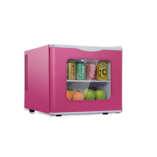 HWG Mini Freezer Refrigerator with Glass Door Mini Fridge Mini Bar Plastic Plug-in Indoor Lighting for Small Households,Pink