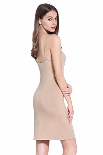 (Women Long Spaghetti Strap Full Cami Slip Camisole Under Dress Liner,Small,Camel)