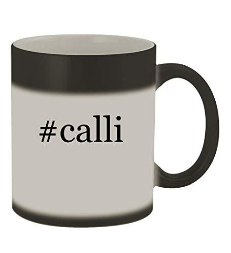 #calli - 11oz Color Changing Hashtag Sturdy Ceramic Coffee Cup Mug, Matte Black