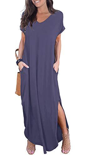 (GRECERELLE Womens Casual V Neck Side Split Beach Dresses Long Maxi Dress Purple Gray-M)
