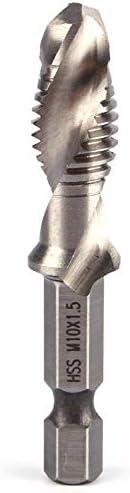 Jiyou 6Pcs HSS High Speed Steel Drill Bits Set 1//4 Hex Shank Metric Screw Thread Tap Taper Twist Drill Bit M3 M4 M5 M6 M8 M10 HOT