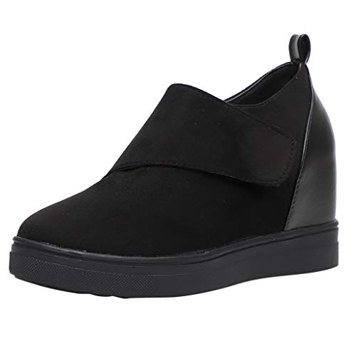 (Kauneus  Wedgie Sneakers Platform High Top Wedge Booties Slip on Heeled Hollow Out Ankle Boots Black)