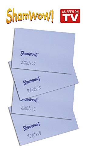 The Original Shamwow Mini - Super Absorbent Multi-Purpose Cleaning Shammy (Chamois) Towel Cloth, Machine Washable, Will Not Scratch, Blue (4 Pack)