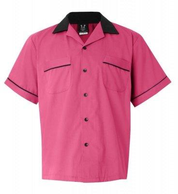 Amazon.com: Pink/Black Legend 2244 Button Up Bowling Shirt LARGE ...