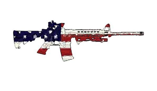 2nd Amendment USA American Flag AR 15 Rifle M4 gun sticker decal military ar-15