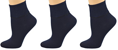Sierra Socks Big Girls 3 Pairs Pack Cotton School Uniform Turn Cuff Seamless Toe Socks (Navy) - Womens Navy Uniform