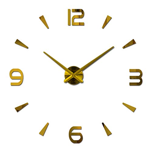 ZHAS Modern Silent Frameless Large 3D DIY Wall Clock Mute Mirror Stickers Home Office School (Color : Gold, Size : 47inch)