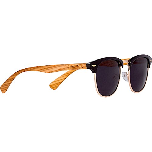 WOODIES Zebra Wood Clubmaster Sunglasses with Black Polarized Lenses