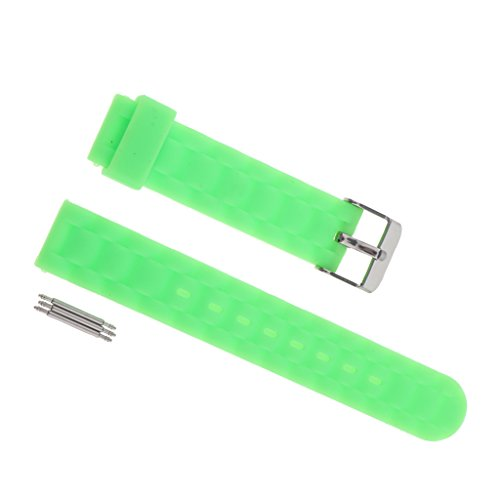 Jili Online 16mm Fold Soft Jelly Silicone Rubber Sports Watch Straps Bands Bracelet with 3 Spring Bars - Green -