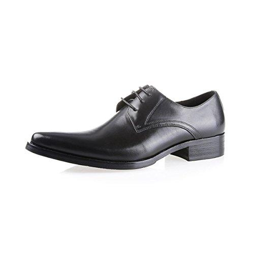 Lyzgf Mænd Unge Herre Business Casual Mode Snøring Banket Frisør Pegede Lædersko Sort 19EbfRCmy
