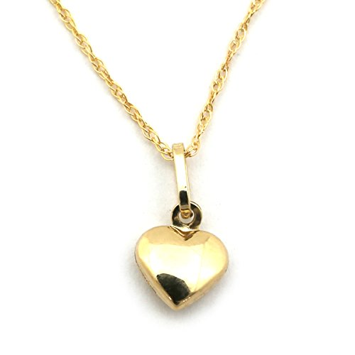 14k Yellow Gold Tiny Puffed Heart Pendan - 6mm Rope Chain Necklace Spring Shopping Results
