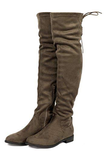 - DREAM PAIRS Women's Uplace Khaki Suede Over The Knee Thigh High Winter Boots Size 10 M US