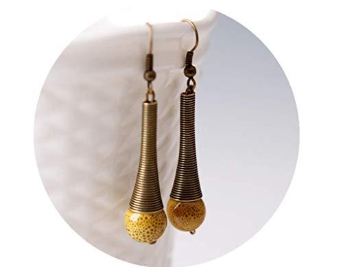 (Mountainer Ethnic Jewelry Vintage Beads Pendant Dangle Drop Earrings For Woman Girl-Yellow)