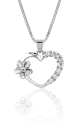 (CZ Accented Sterling Silver Heart and Plumeria Flower Necklace Pendant with 18