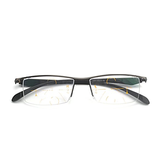 MINCL/Progressive Multifocus Reading Glasses Mens Business Adjustable Vision Eyewear (gun, 1.5) by mincl