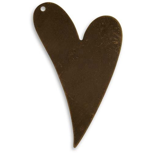Vintaj Natural Brass Altered Blank Stamping Artisan Heart Pendant, 41 x 24mm