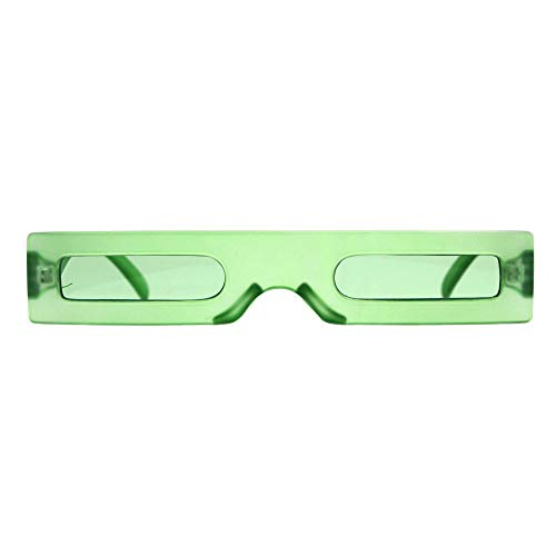 Futuristic Pimp Color 80s Robotic Funk Narrow Rectangle Plastic Sunglasses ()