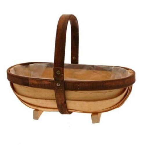 APAC Large Prestwick Two Tone Wooden Trug Feet Lined Basket Flowers Gift Plant