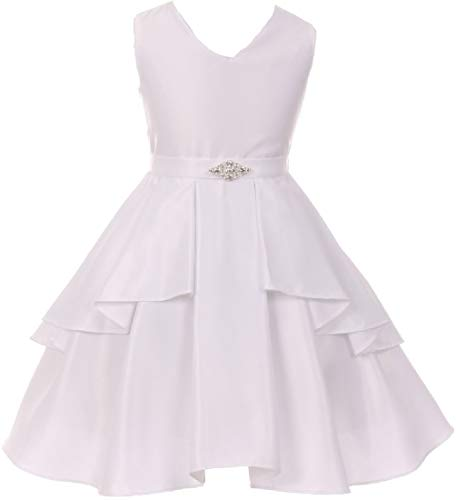 Big Girls' Solid Dull Satin Overlays Brooch Sash V Neck Flower Girl Dress White 10 ()