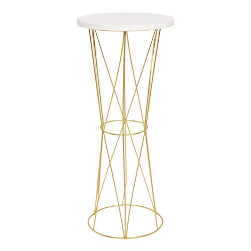 Cage End (Kate and Laurel Mendel Round Metal End Table, White Top with Gold Base)