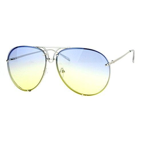 - Oversized Round Aviator Sunglasses Metal Rims in Back Silver, Blue Yellow Lens