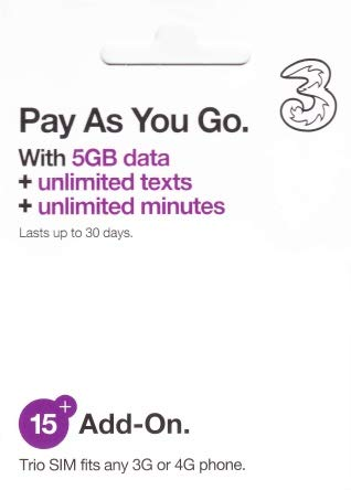 PrePaid Europe (UK Three) sim Card 5GB Data+Unlimited Minutes+Unlimited Texts for 30 Days with Free Roaming/USE in 71 Destinations Including Europe,South America and Australia (5GB - For France Card Iphone 5 Sim