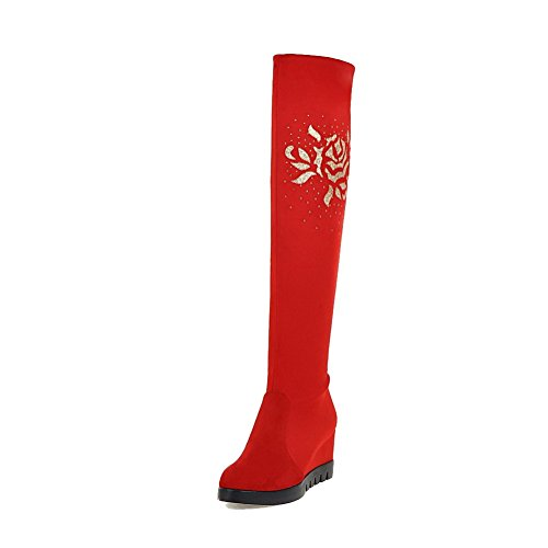 AllhqFashion Womens High-Heels Frosted High-top Solid Pull-on Boots with Crystals Red r18QC