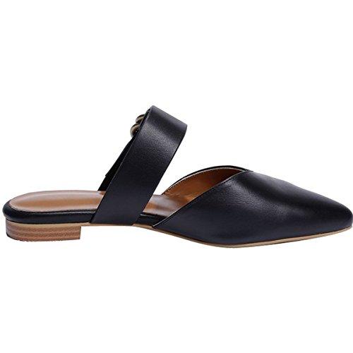Dress Mavirs Slip On Mule 1 Toe Sandals Fashion Pointed Slide black Women's Backless Flat Shoes ZwrZaqz