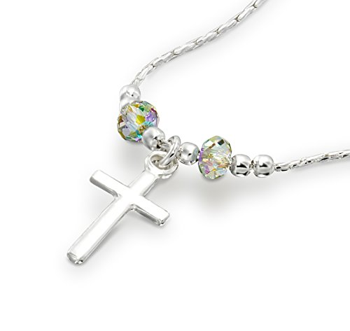 (Choice of Cross Pendants Made with Original Swarovski Crystals 925 S. Silver Necklace, 16