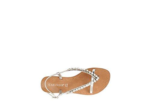 Sandals flip Rhinestone CAF 204 Argento Strap Pearls Woman GA918 Silver Noir Flop 204 TwqIagqO