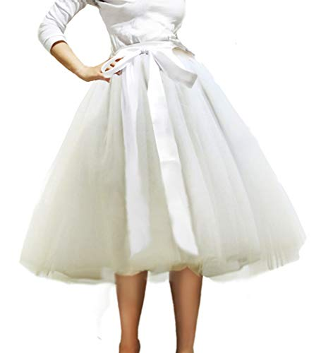 CahcyElilk Plus White Layered Tulle Skirt for Women Knee Length Tulle Skirt Tutu Skirt Evening Party Gown Elastic Waist,White Large]()