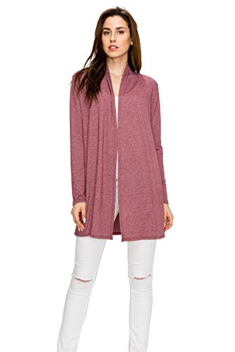 (EttelLut Long Open Front Lightweight Cardigans for Juniors Long Sleeve Burgandy L)