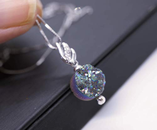 Natural Druzy Drusy Agate Necklace Sterling Silver Leaf Pendant