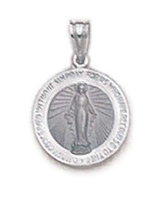 Blanc 14 carats JewelryWeb-Pendentif Médaille Miraculeuse