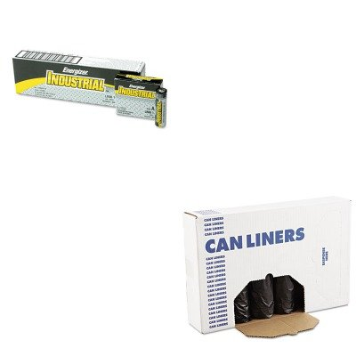 KITBWK4347HEVEEN91 - Value Kit - Black Heavy-Duty Perforated Coreless Roll Can Liners, 56 Gallon (BWK4347H) and Energizer Industrial Alkaline Batteries (EVEEN91) by Boardwalk (Image #1)