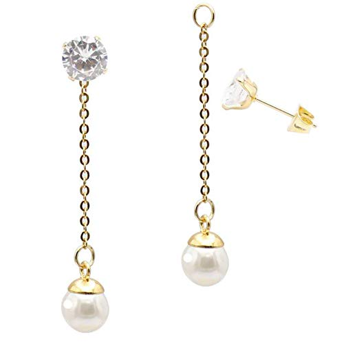 Fashion White Pearl Ball Drop Dangle Earrings with Chain for Women Girl Hypoallergenic Cubic Zirconia Stud Earring Jacket Enhancers